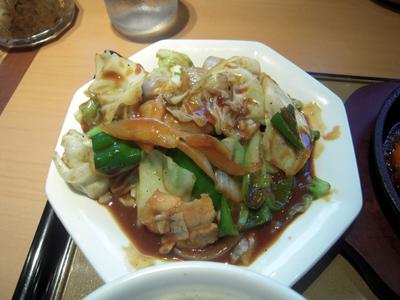 海老チリと回鍋肉の定食 回鍋肉 やよい軒町屋.jpg